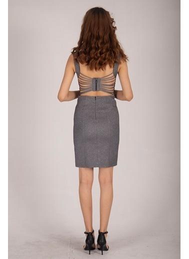 Belamore  Gri Kalın Askılı U Yaka Arkası Ipli Simli Kumaş Abiye & Mezuniyet Elbisesi 1608155.06 Gri
